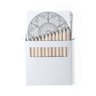 12 Piece Mandala Colouring Pages Pencil Set Adult Children Relaxing Activity