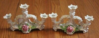 Pair Antique Dresden  Mb  Porcelain  Rose Candlestick/Candle Holders
