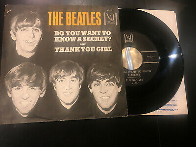 THE BEATLES do you want to know a secret 45 VeeJay VJ-587 1964 orig w/ PS rare!!