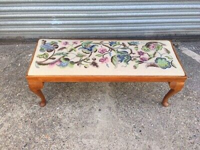 Long Piano Stool /  Window seat with Floral needle point covering