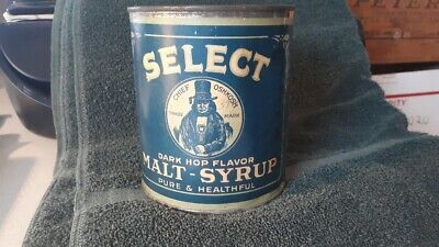 Select Malt Syrup Chief Oshkosh Wisconsin Tin Can Beer Bottle Sign Indian