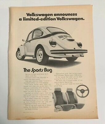 1972 Volkswagen VW Sports Bug Beetle Advertisement Ad Car Auto