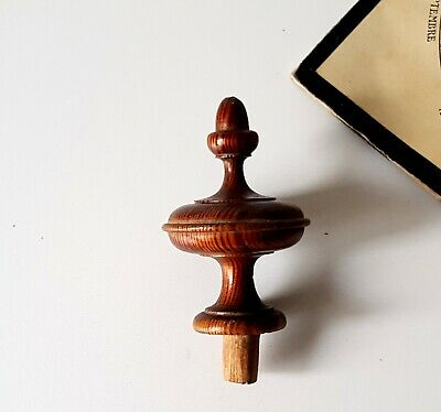Antique turned wood post finial end cap topper Salvaged furniture 2.4 inches