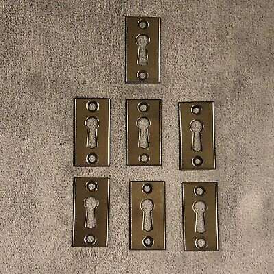 7 Antique Vintage Brass Escutcheon Keyhole Key Hole Cover