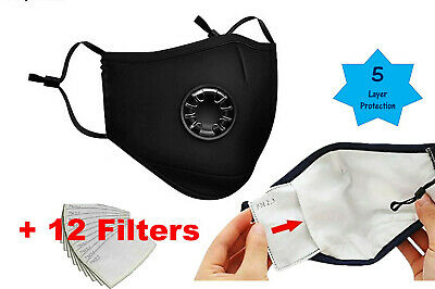 Washable Reusable Cotton Fabric Face Mask With Respirator & PM2.5 Filters
