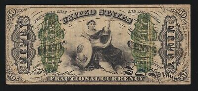 US 50c 3rd Issue Wide Surcharge Fractional Currency Note FR 1366 VF