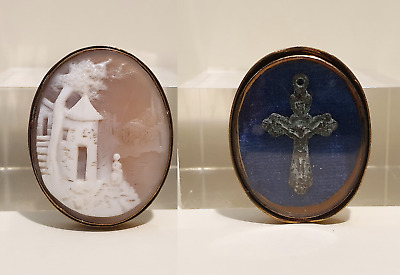 Beautiful Antique Victorian Unusual Double Sided Mourning Cameo with Inset Cross