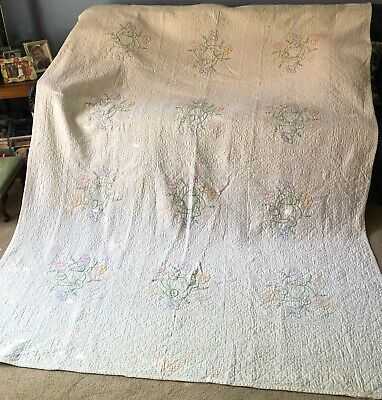 """Vintage 72"""" x 97"""" Cotton  White Embroidered Quilt w Flowers 1920-30"""