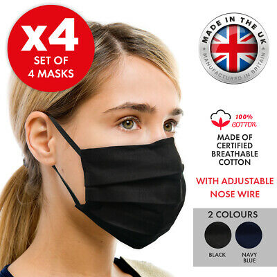 4-PACK Cotton Face Mask Guard - UK-Made - Washable & Reusable - Double Layer