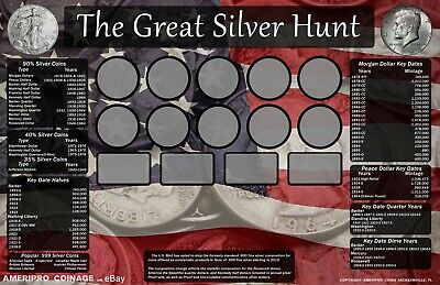 """11""""X17"""" Coin Roll Hunting Silver Mat~Search/Collection~Soft/Safe Rubber~!"""