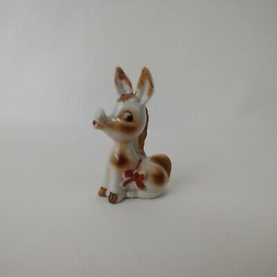 Vintage Donkey With Bow Ceramic Porcelain Figurine Made in Japan Collectible