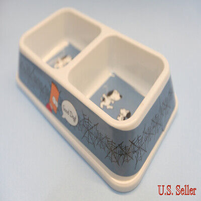 Cartoon Pet Food Feeding & Water Plastic Double Bowl - Great for Dog Puppy Cat