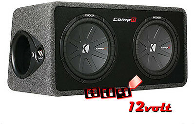 "Kicker 40DCWR122 Dual 12"" CompR Subwoofers in Ported Enclosure Box"