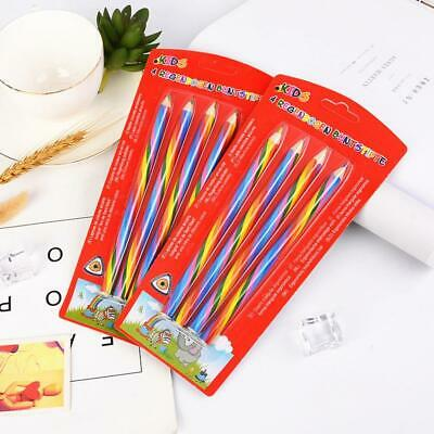 4* Rainbow Color Wooden Art Pencils Drawing Painting Sketch School Supplies Best