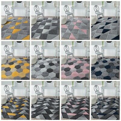 Living Room Bedroom Rugs Large Small Pink Yellow Grey Silver Navy Rug Runner Mat