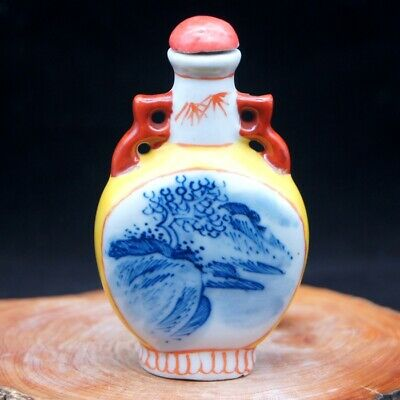 China Collectible Hand painting Blue And White Porcelain landscape Snuff Bottle
