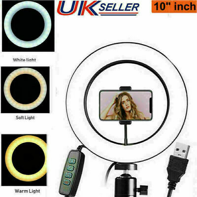 """10"""" LED Ring Light Studio Photo Video Dimmable Lamp Tripod Stand Selfie Phone"""