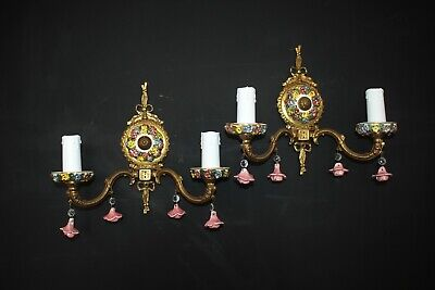 Pair Vintage Italian Brass & Porcelain Double Wall Lights   #A