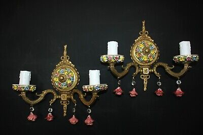 Pair Vintage Italian Brass & Porcelain Double Wall Lights   #B