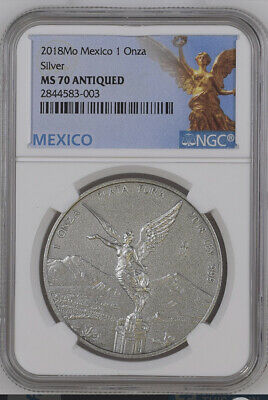 2018 Mexico 1 Onza Antique Finish Libertad NGC MS70 First year of issue TOP POP