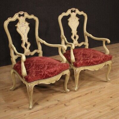Pair Of Armchairs 2 Chairs Lounge Furniture Wood Painting Antique Style Venetian