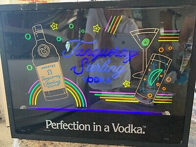 Vintage Tanqueray Sterling Vodka Neon Bar Sign Blacklight Glow in the Dark