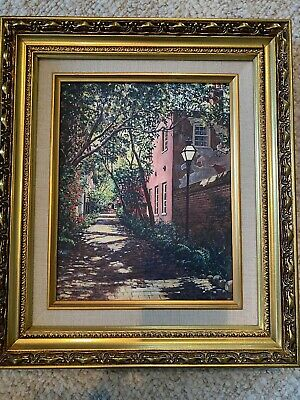 "Gordon Wheeler Framed 8""x10""  ""AFTERNOON ALLEY"" Charleston Canvas Reproduction."