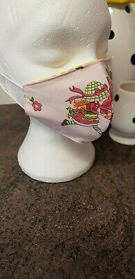 Brand new cotton face mask made from pink girls fabric size child 6 - 10