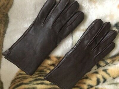 Real Leather 100% Full Rabbit Fur Insulated Brown Women Gloves Size Large