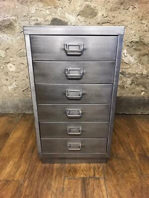 Industrial Stripped Metal 6 Drawer Filing Cabinet Storage,
