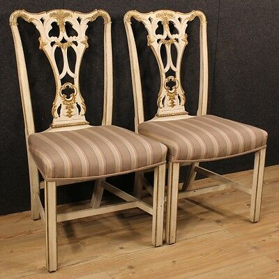 Pair Of Chairs Lacquered Golden Wood Furniture Antique Style 900 Armchairs Xx