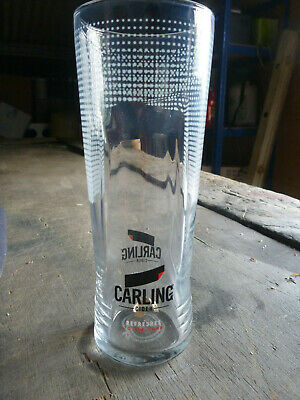 4x Carling Cider Pint Glasses Ce Stamped Pub Shed Bar Man Cave