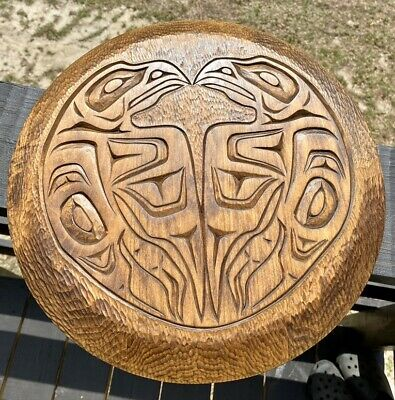Northwest Coast Double Raven Carved Cedar Plaque