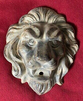 "Antique Cast Iron Lion Head Architectural Fountain Wall Mount ~ 11"" x 9"" x 3"""