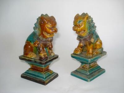 Pair Antique Chinese Ming Sancai Glazed Pottery Foo Dog Lion Figures