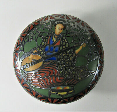 Antique Asian Chinese Japanese ~ Porcelain Hand Painted Box w Silver Overlay