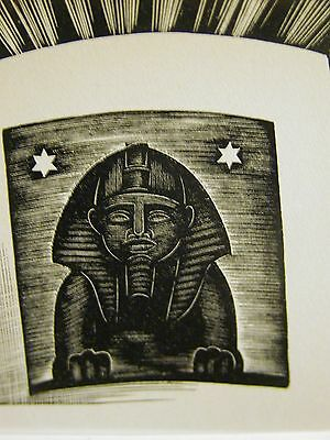 Lynd Ward 1930 SPHINX STUDY of ANCIENT EGYPT EGYPTIAN Art Deco Print Matted