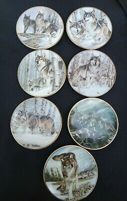 7 Hamilton Collection Miniature Mini Year of the Wolf Plate Pin Dish w/ COA 1998