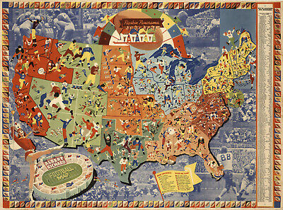 Albert Richard US Football Map College Pros Vintage Wall Art Poster Decor
