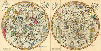 1820 Celestial Maps Both Hemispheres Constellations Astronomy Wall Poster Art