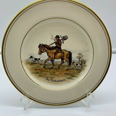 Abercrombie Fitch Equestrian Horse Man Hound Dogs Plate Vosmansky Signed