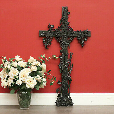 Antique Cross, Antique Cast Iron Gothic Church Cross with Bulrushes Thorn Crown
