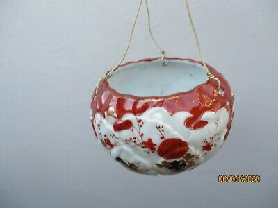 An Antique Japanese Hand Painted Porcelain Hanging Plant Holder c1900