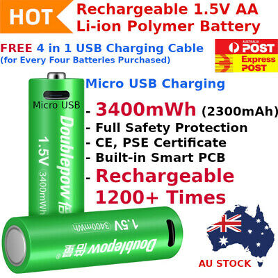 Rechargeable Lithium Li-ion Polymer 3400mWh 1.5V AA Battery 1200+ Recharge Cycle