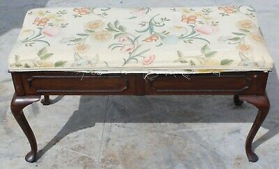 1920s Floral upholstered Mahogany Duet Stool with storage