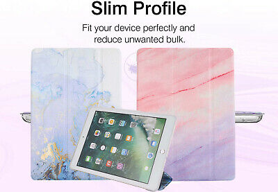 Smart Marble Case Translucent Back TPU Stand Folio Cover for iPad 7th 10.2 2019