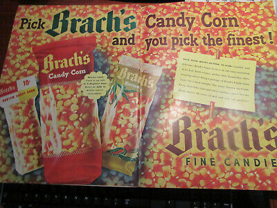Vtg 1948 Two Page Magazine Ad for Brach's CANDY CORN Ad / Pick the Finest