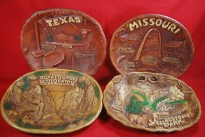 Tammen Souvenir Plaques 1970's (4) Texas Missouri Colorado Yellowstone