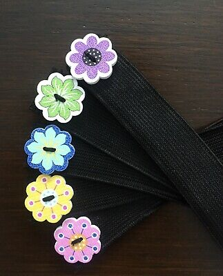 Headband strap with buttons for face mask, flower  Ear Savers