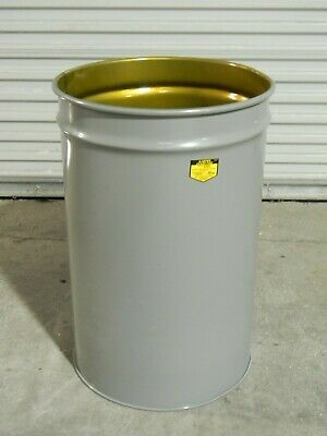 Justrite Cease-Fire 30 Gallon Waste Paper Receptacle Steel Drum 26430